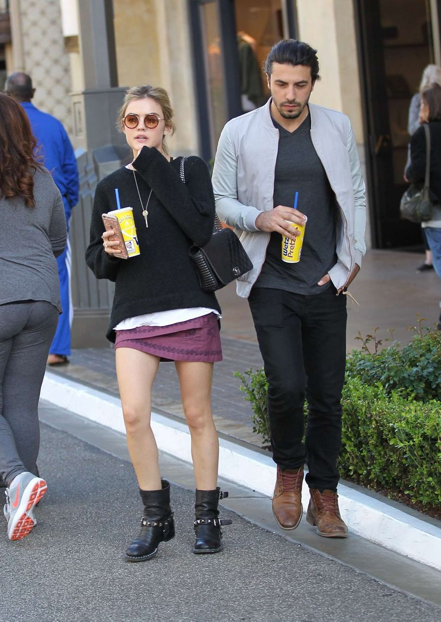 Lucy Hale Looks Glam while Shopping in Hollywood