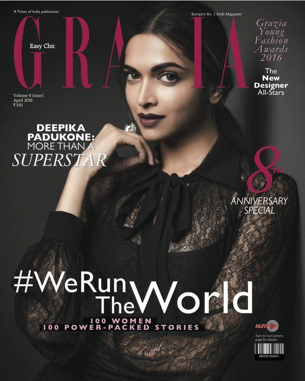 Deepika Padukone Poses for Grazia Magazine April 2016