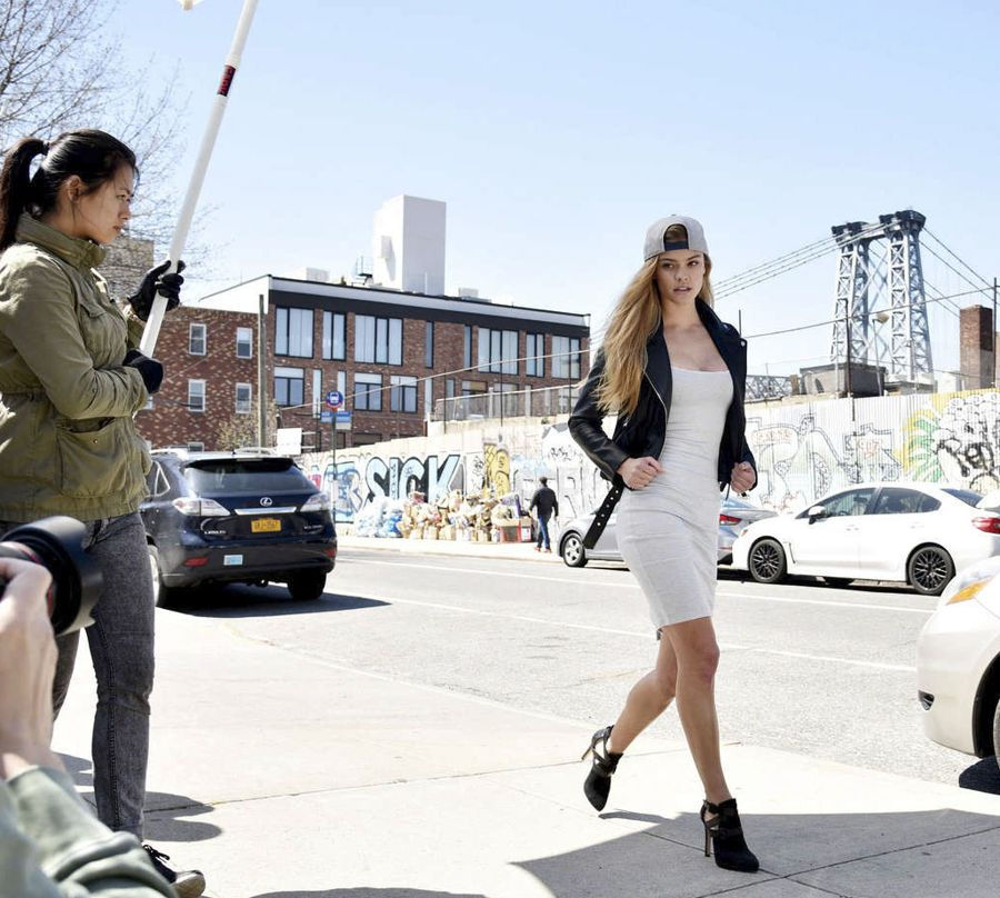 Nina Agdal - New Era Campaign Shoot in NYC