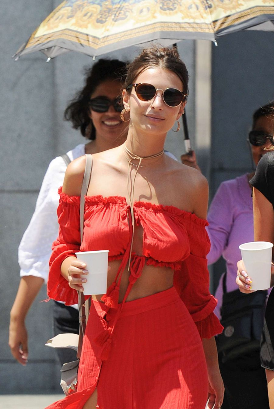 Emily Ratajkowski in Red Dress out in LA