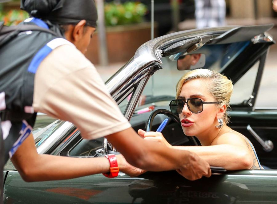 Lady Gaga in Jeans Shorts out in New York City