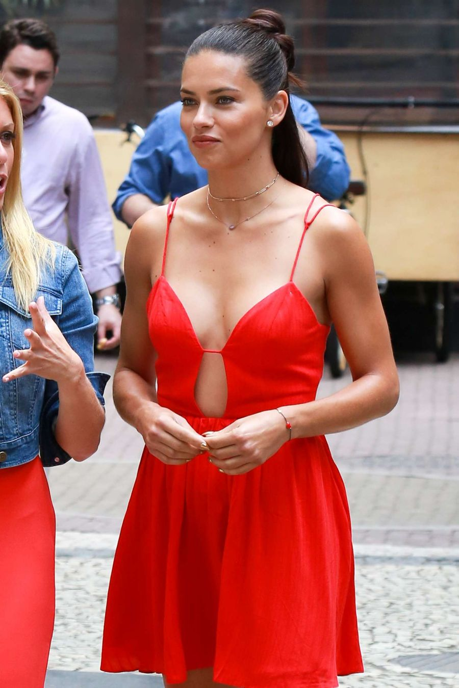 Adriana Lima in Red Dress out in Rio de Janeiro