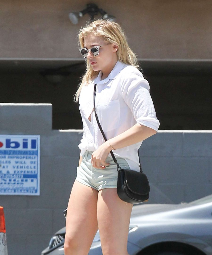 Chloe Moretz in Jeans Shorts at a Gas Station in LA