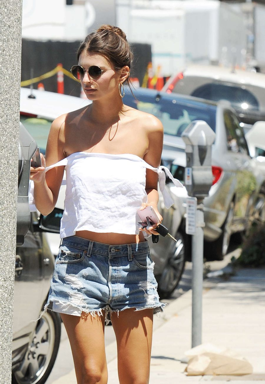 Emily Ratajkowski in Denim Shorts out in Los Angeles