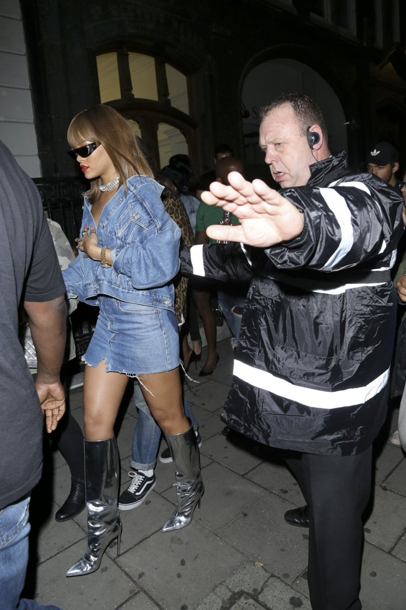 Rihanna sizzles in double denim as she parties in London