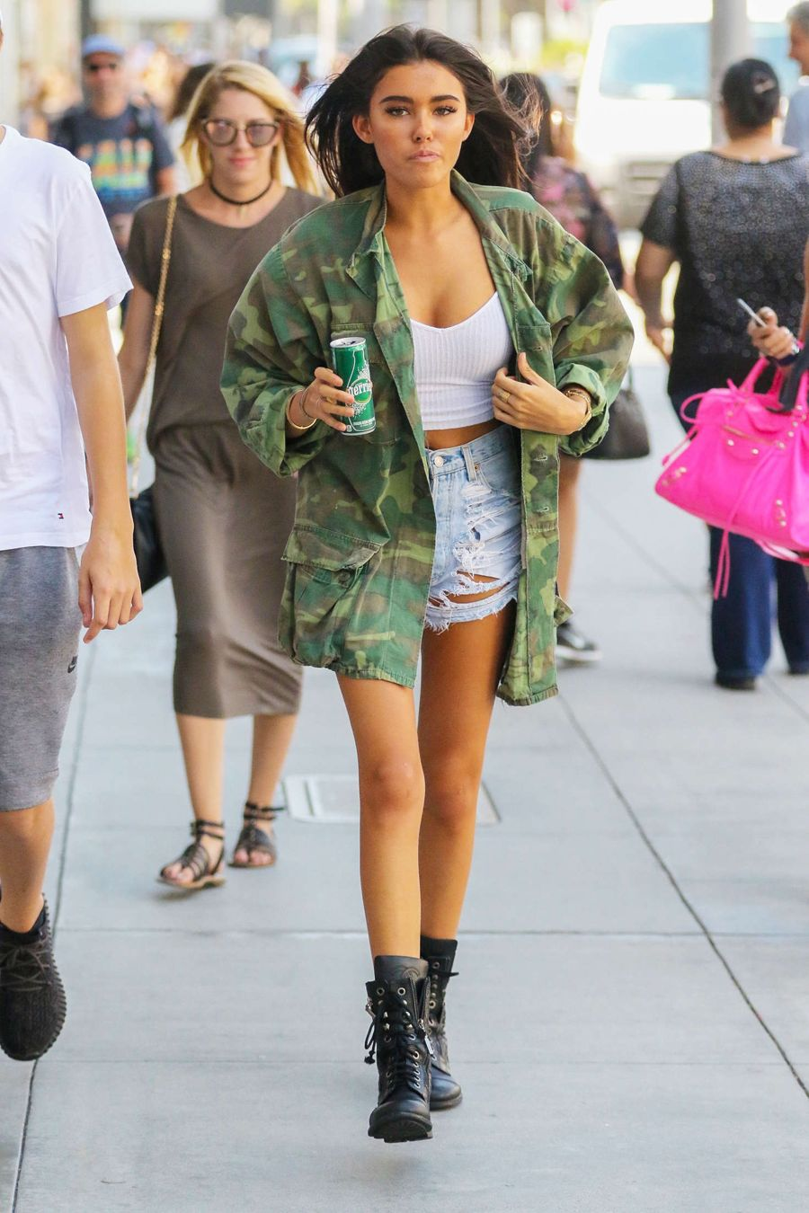 Madison Beer in Denim Shorts Out in Beverly Hills