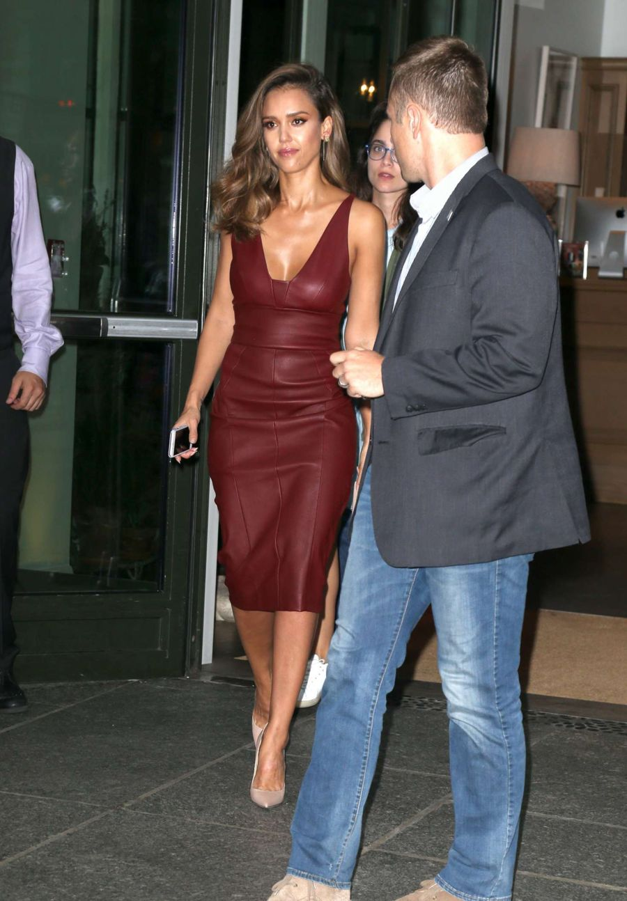 Jessica Alba in Red Leather Dress out in SoHo