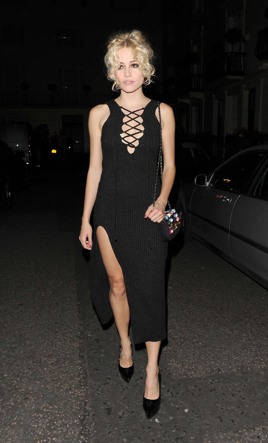 Pixie Lott in Black Dress Leaving The Haymarket Theatre