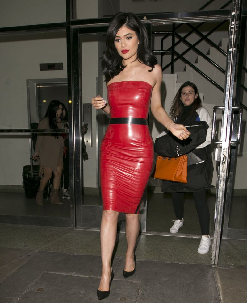 Kylie Jenner in Red Tight Dress Leaving a Studio