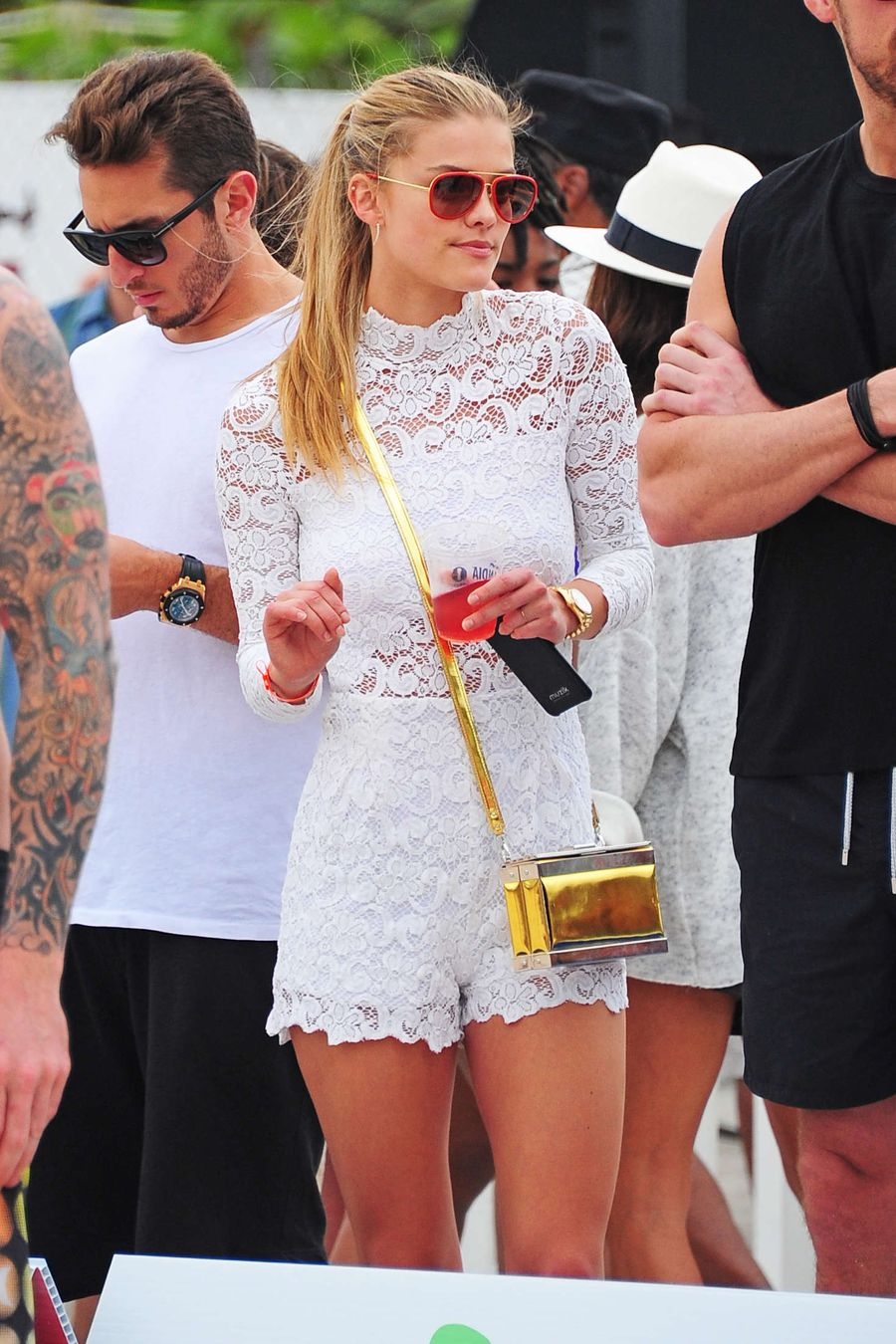 Nina Agdal Looks Angel Like in White Dress in Miami
