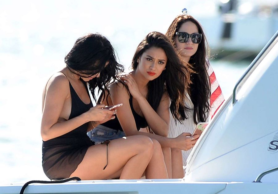 Shay Mitchell in Denim Shorts at yacht with friends