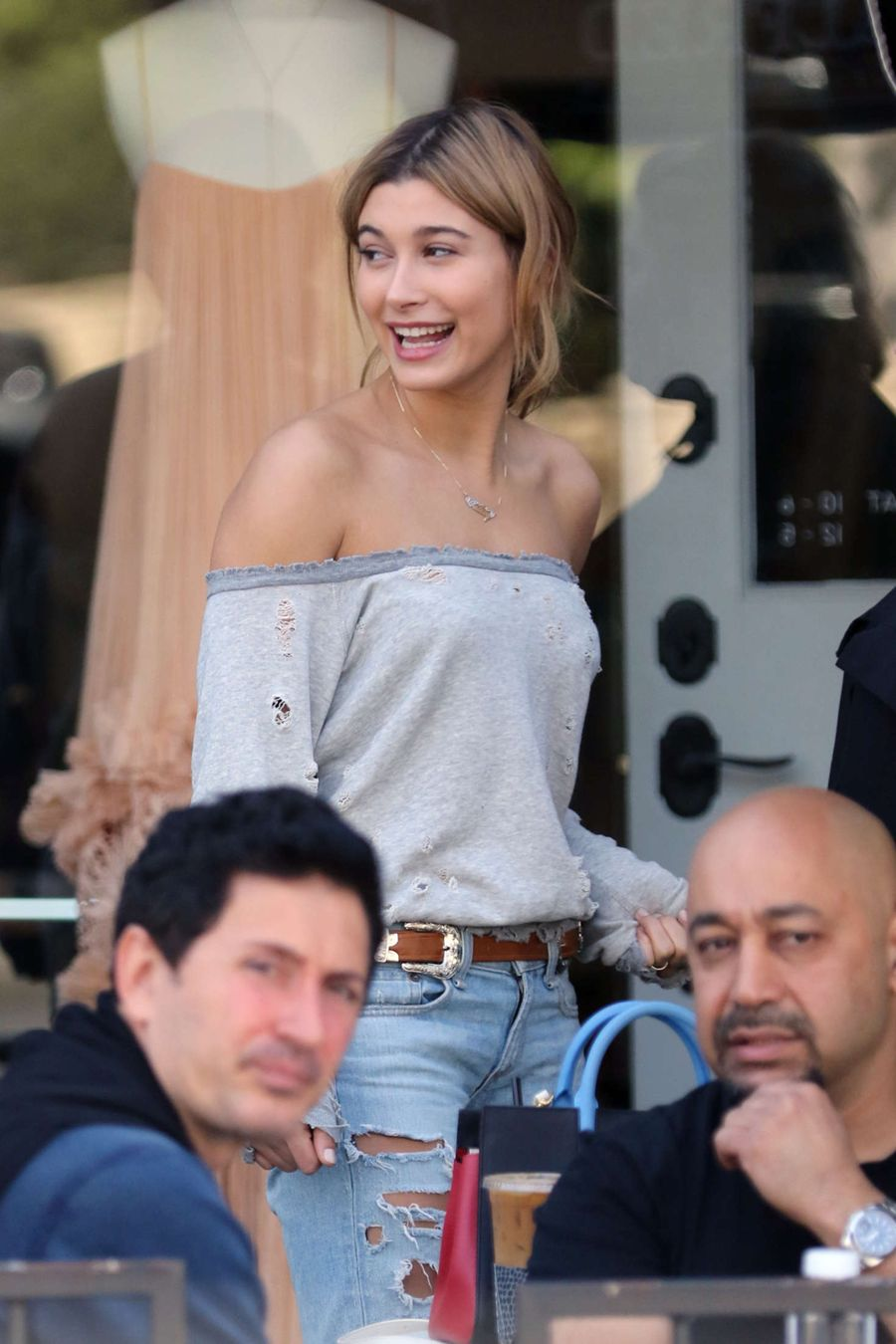 Hailey Baldwin in Ripped Jeans at Alfred in LA