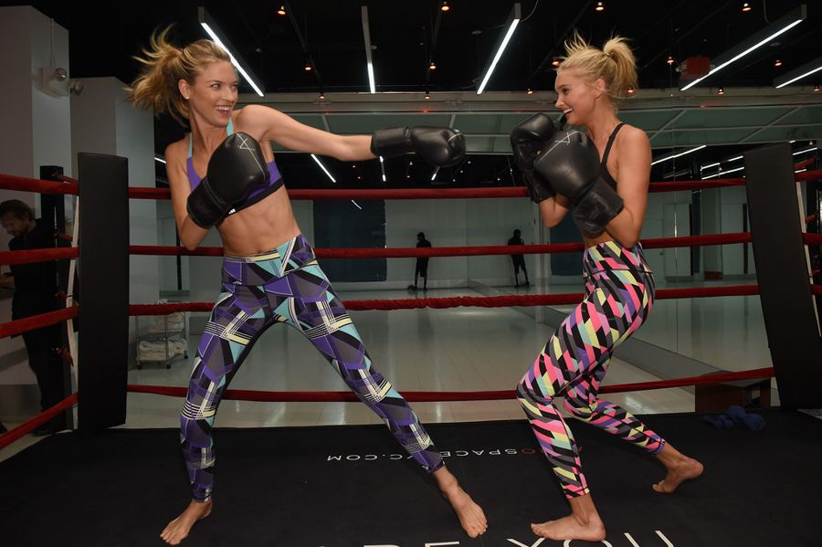 Elsa Hosk and Martha Hunt Box It Out in VS Sport