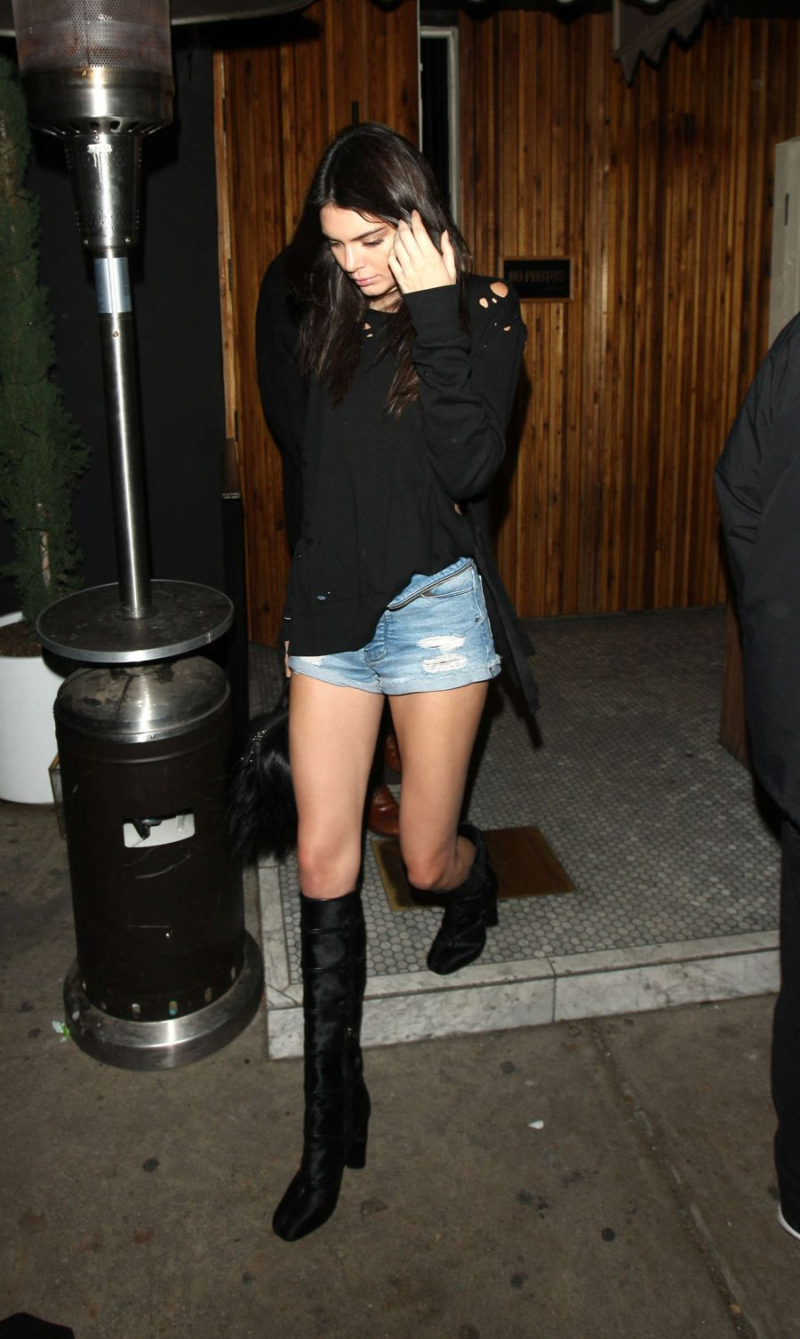 Kendall Jenner in Jeans Shorts at The Nice Guy Club