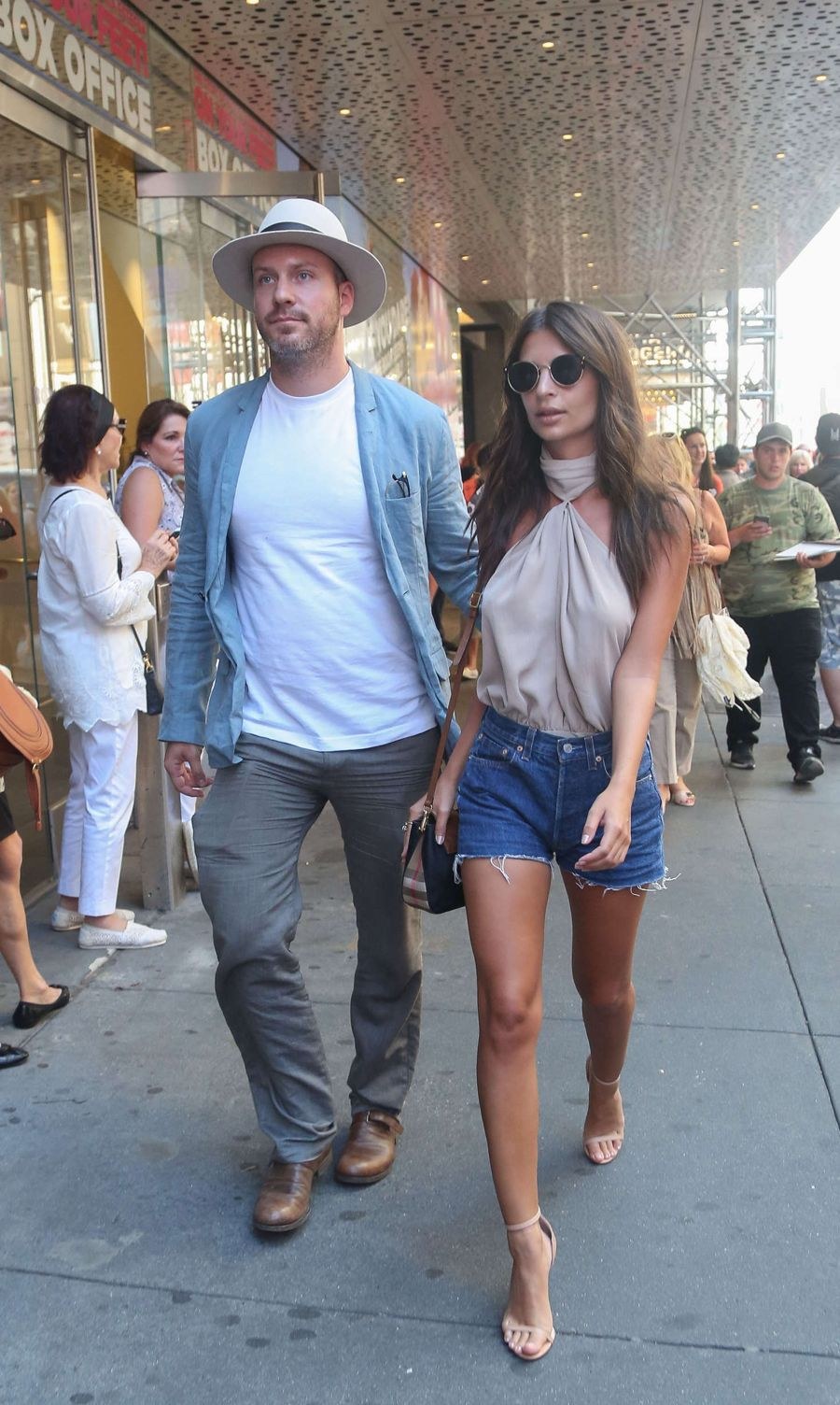 Emily Ratajkowski in Jeans Shorts out in New York City