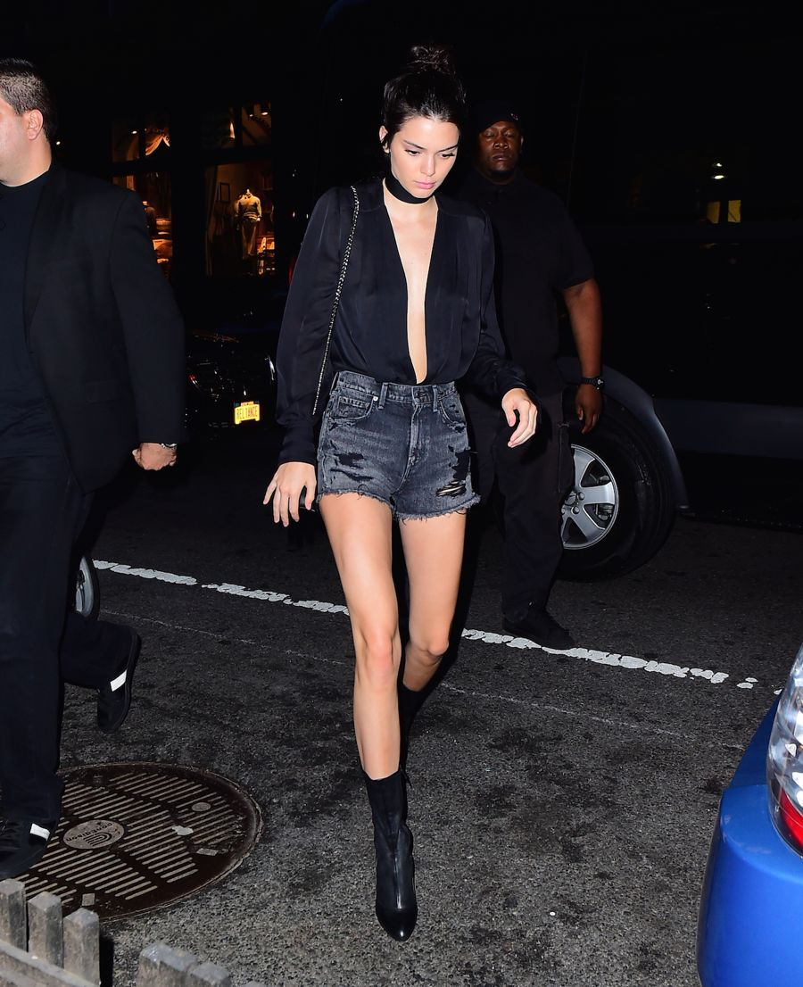 Kendall Jenner in Jeans Shorts Out for Dinner in NYC