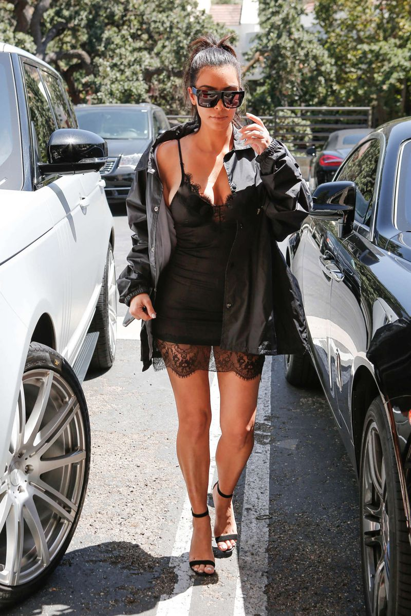 Kim Kardashian in Short Dress in Westlake Village