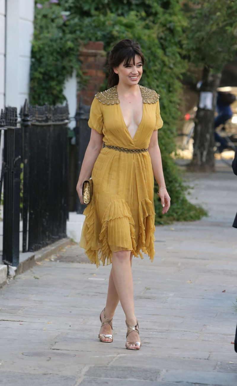 Daisy Lowe in Yellow Dress in London