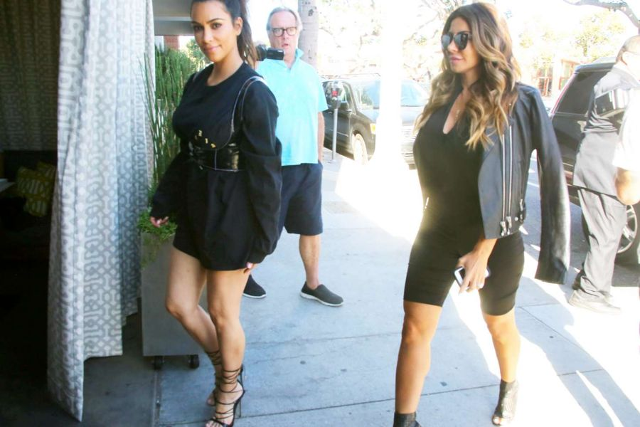 Kim Kardashian in Mini Dress at Katsuya in Brentwood