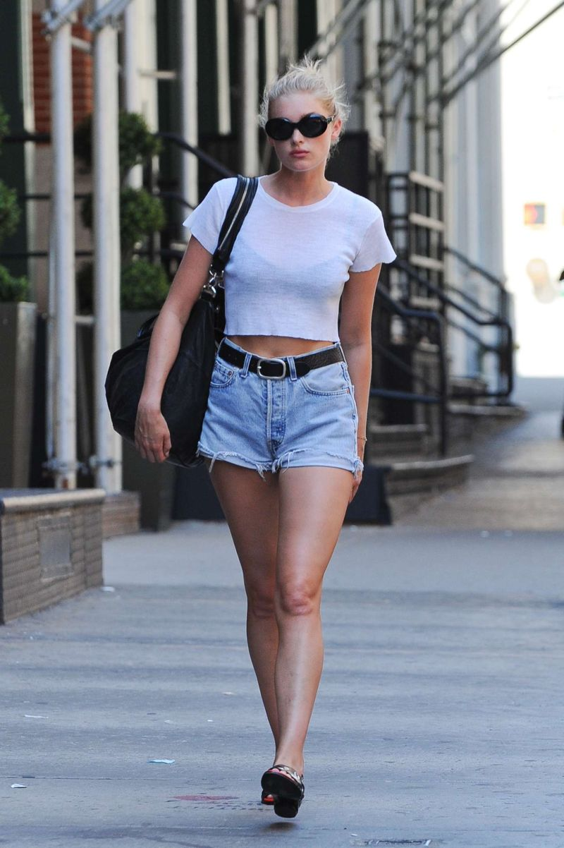 Elsa Hosk Denim Shorts Out in New York
