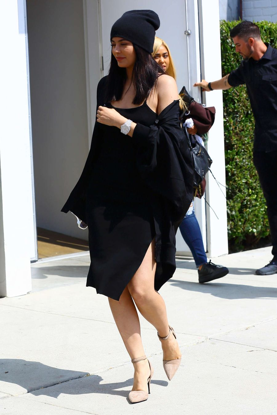 Kylie Jenner in Black Dress Out in Los Angeles