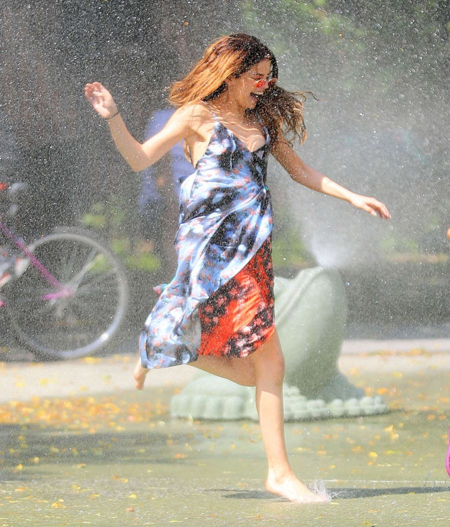 Selena Gomez at a Water Playground in Brooklyn