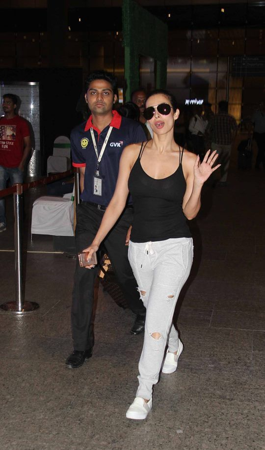 Malaika Arora Looks Fab as she Walks in Black Tank Top