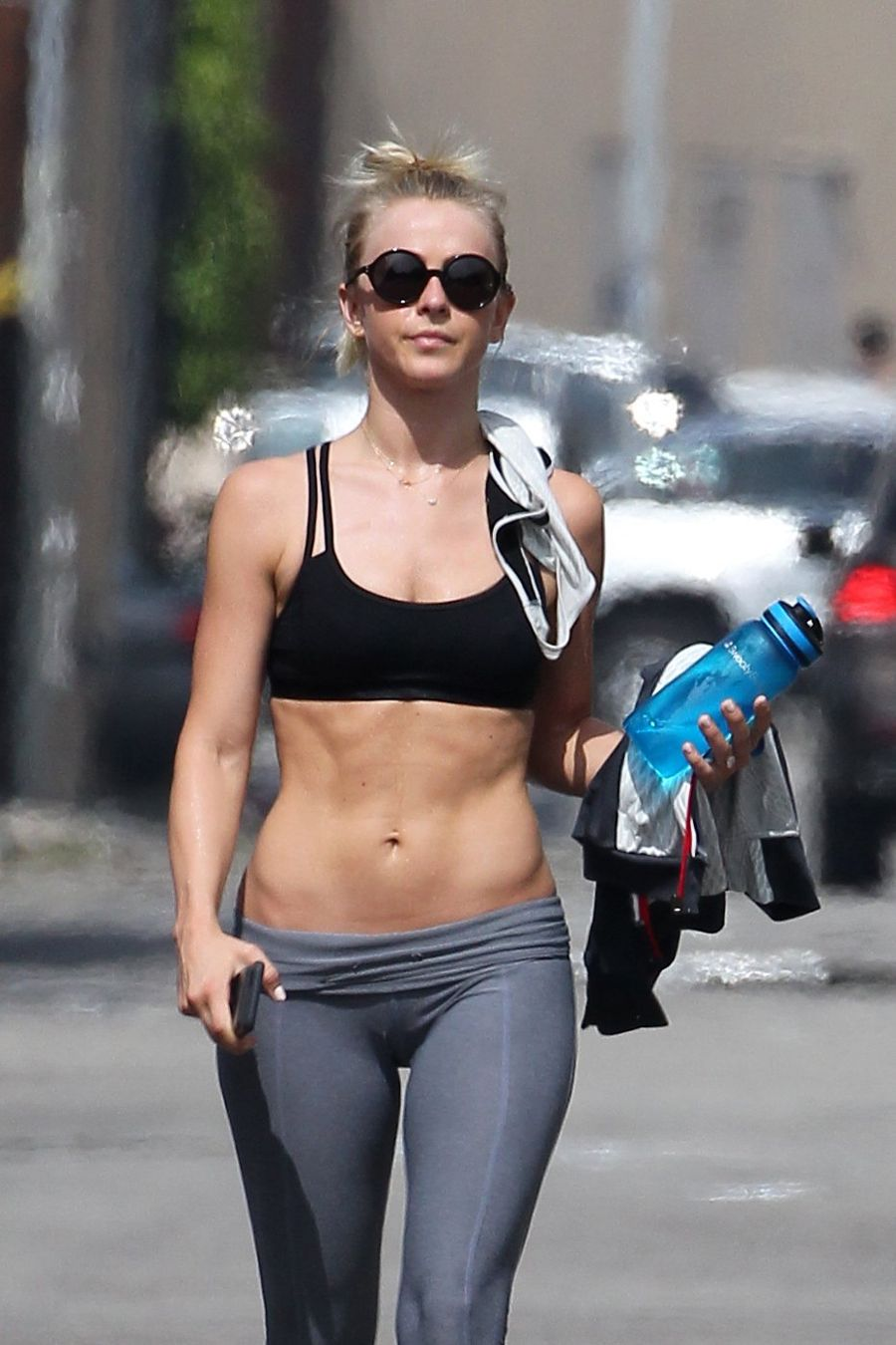 Julianne Hough shows off amazing abs Leaving Gym
