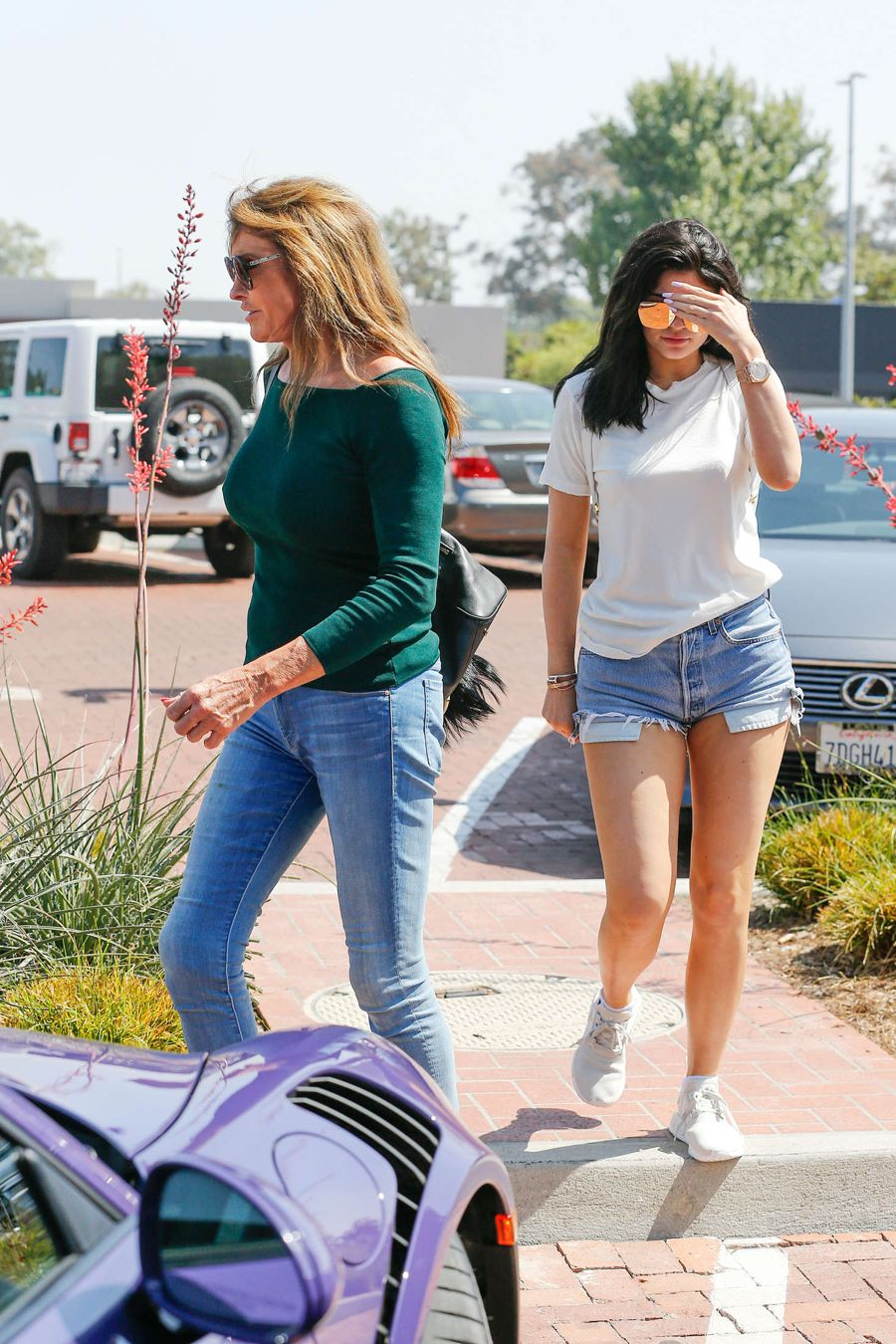 Kylie Jenner in Denim Shorts out for lunch in Malibu