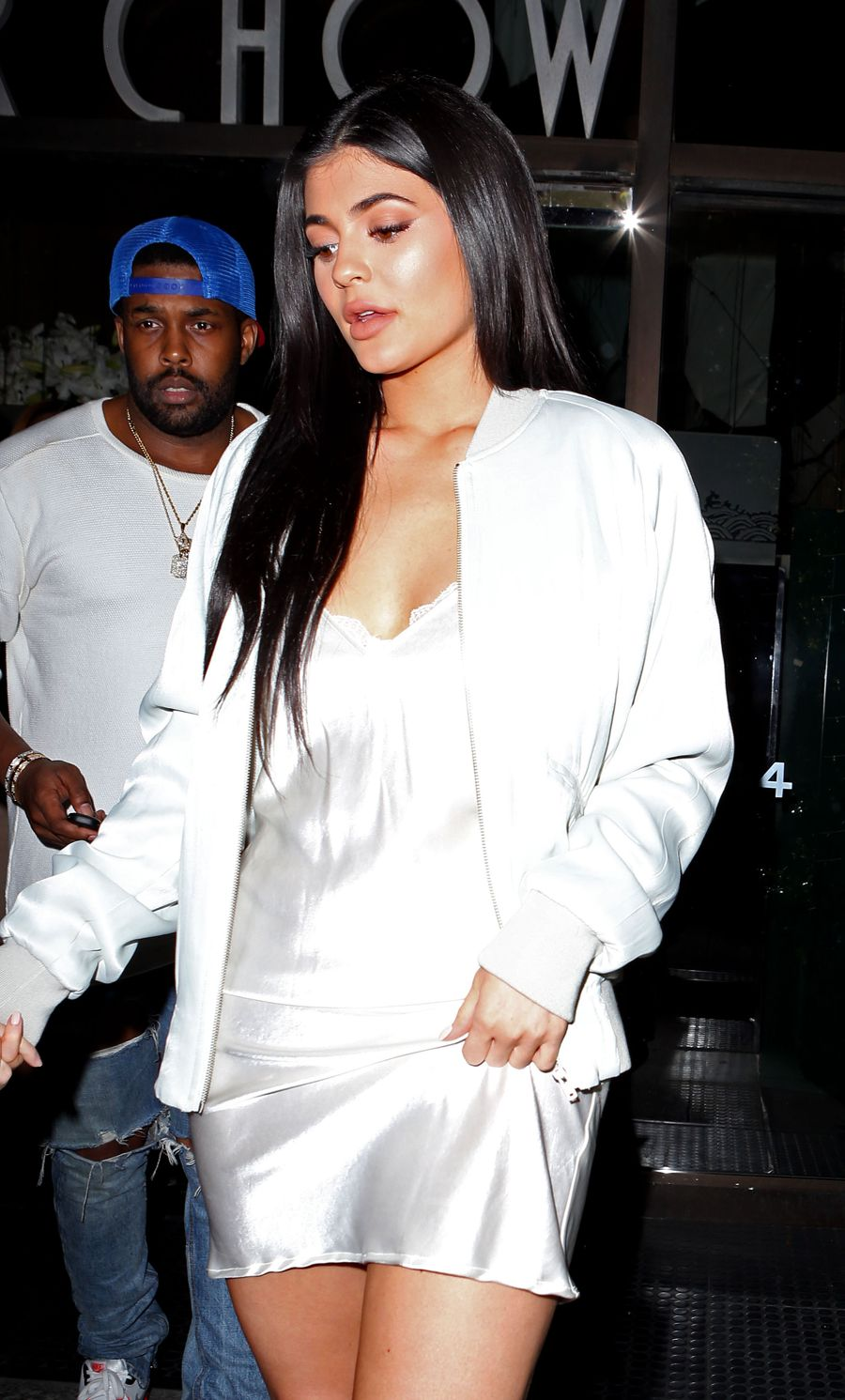 Kylie Jenner in Satin Dress Leaving Mr Chow Beverly Hills