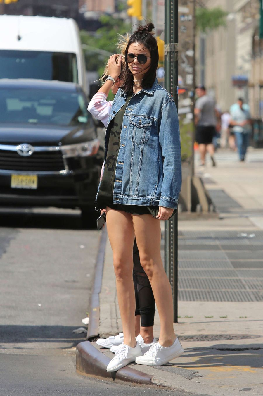 Kendall Jenner in Denim Shorts as she Roams in New York