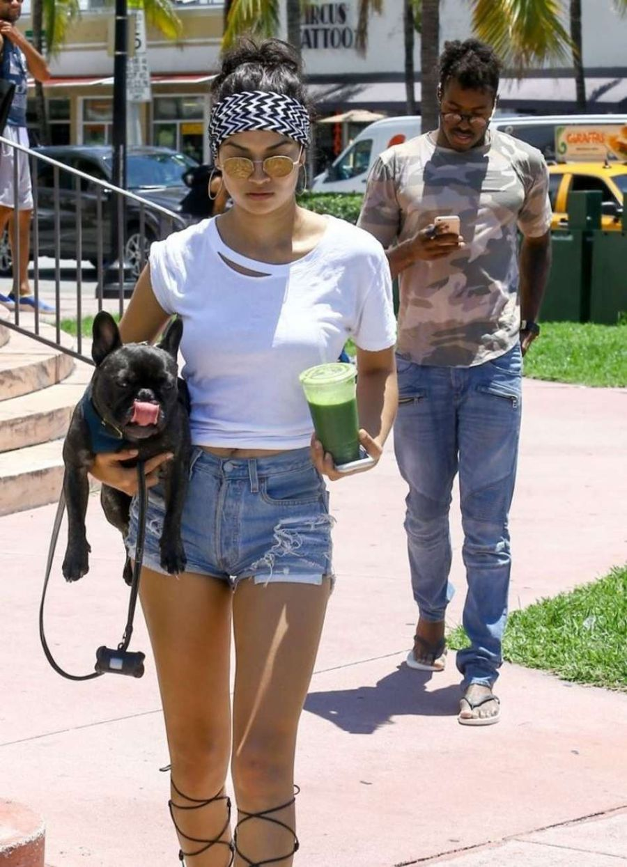 Shanina Shaik in Jeans Shorts out in Miami