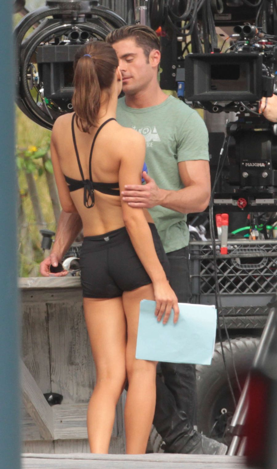 Alexandra Daddario in Shorts On 'Baywatch' set in Miami
