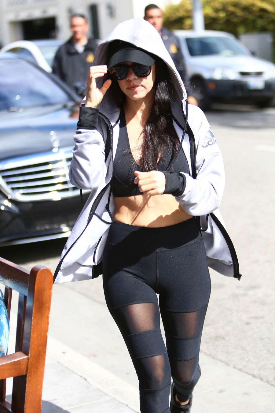 Kourtney Kardashian in Tights and Sports Bra out