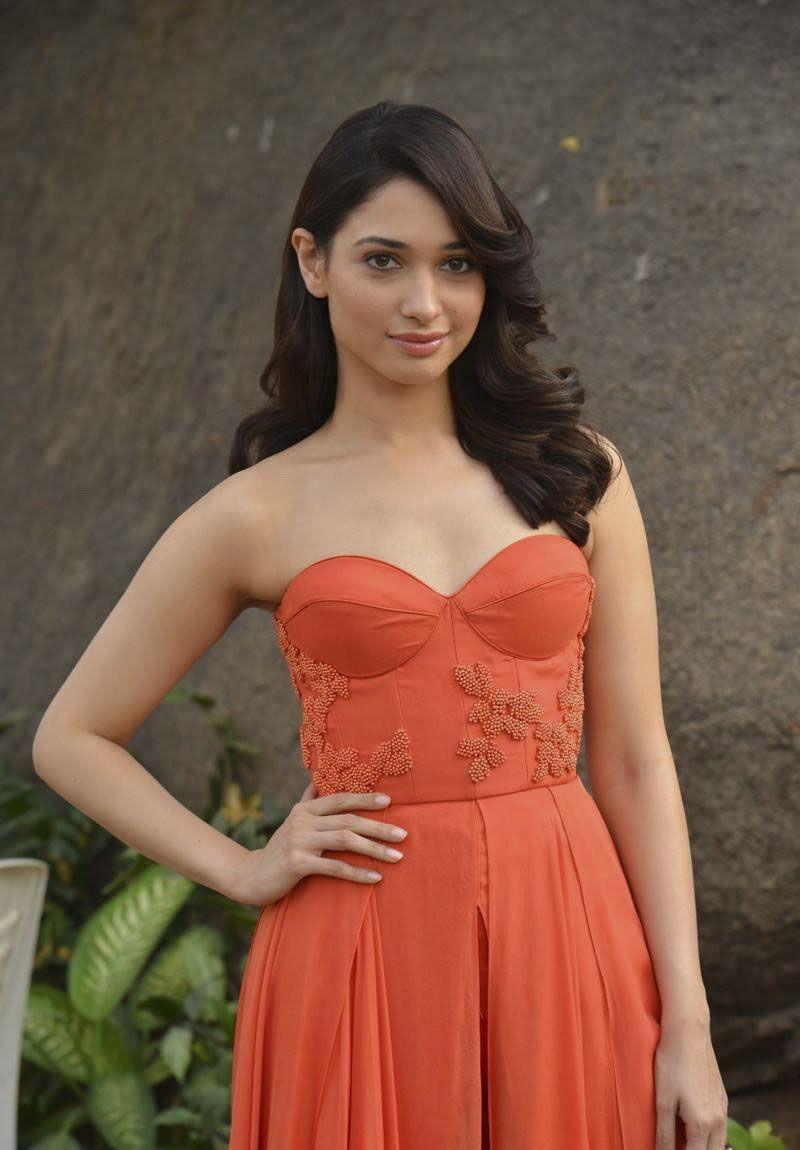 Tamanna Promotes Oopiri in an Orange Dress this Time