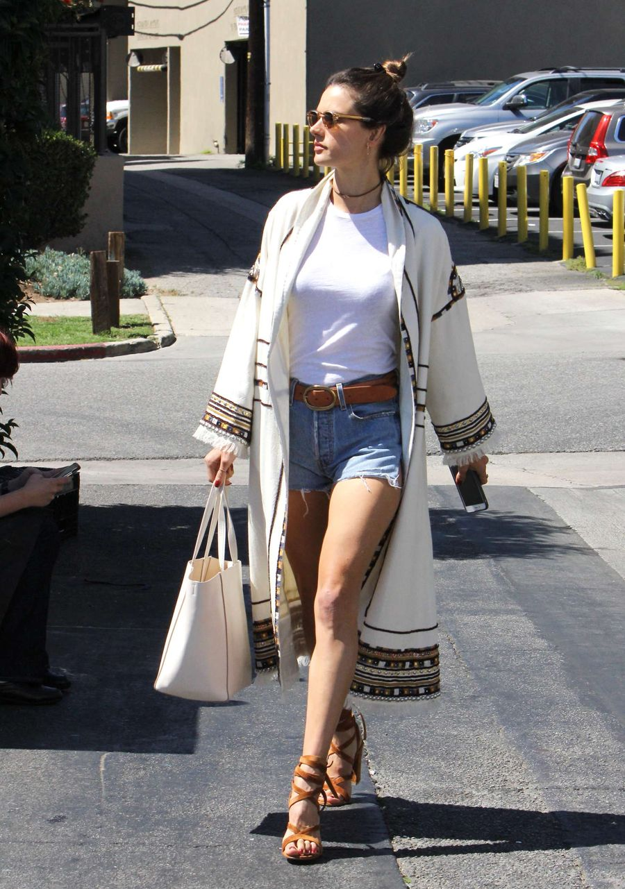 Alessandra Ambrosio in Jeans Shorts at Tavern