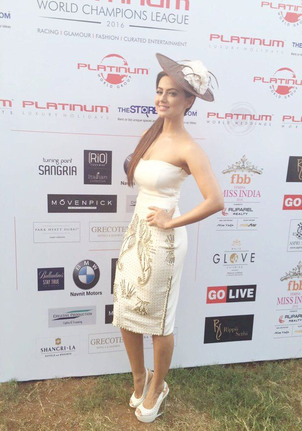 Sana Khan Fashionable as she attends Horse Racing Event