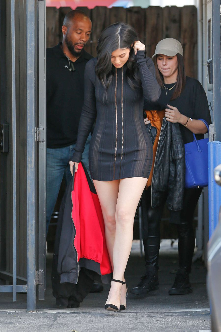 Kylie Jenner in Black Mini Dress at the studio in van Nuys