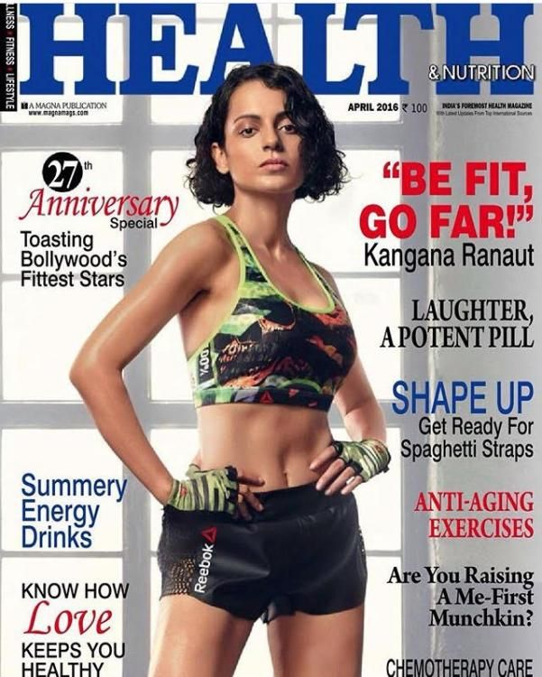 kangana ranaut on cover of health amp nutrition magazine april