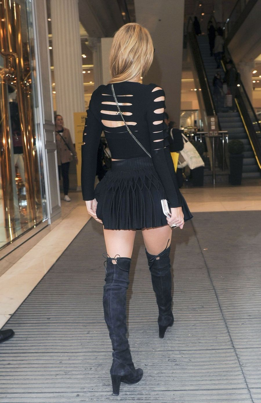 Paris Hilton Spotted in Black in London