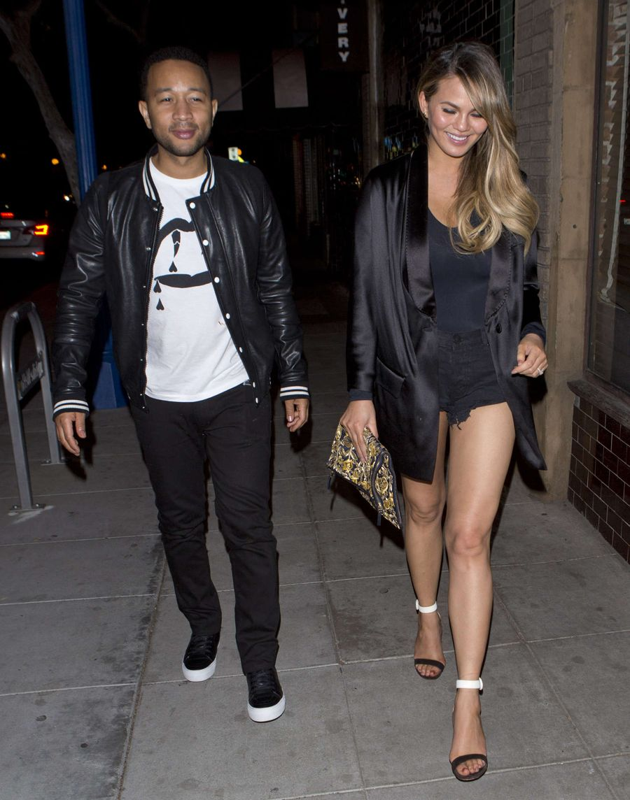Chrissy Teigen With Husband at Jones Bar in LA