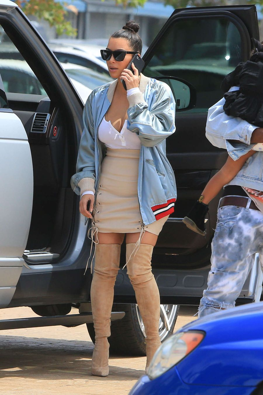 Kim Kardashian in Mini Skirt at Nobu in Malibu