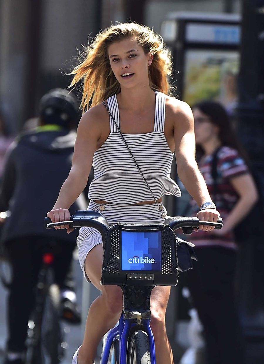 Nina Agdal Riding Bikes in New York City