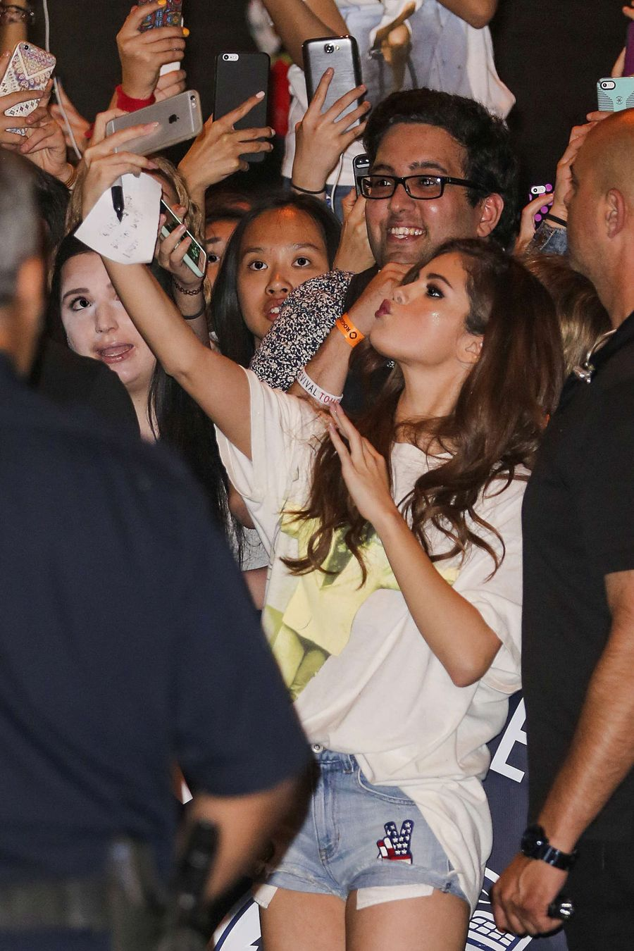 Selena Gomez with her fans in Vancouver