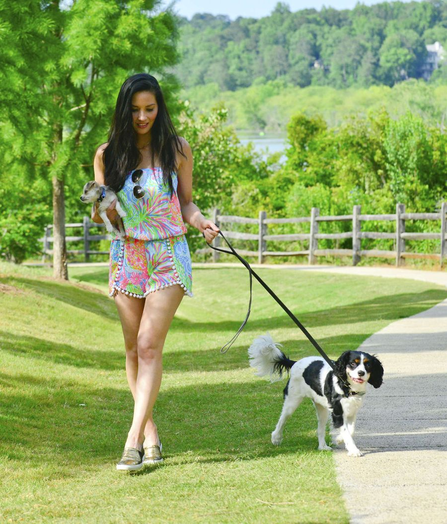 Olivia Munn - Walking her Dogs in Atlanta