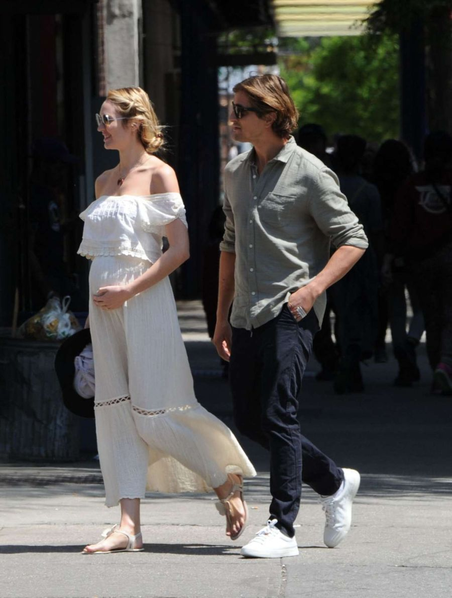 Pregnant Candice Swanepoel in Long Skirt Out in NYC