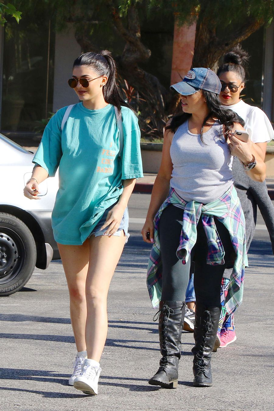 Kylie Jenner in Jeans Shorts at Bui Sushi in Malibu