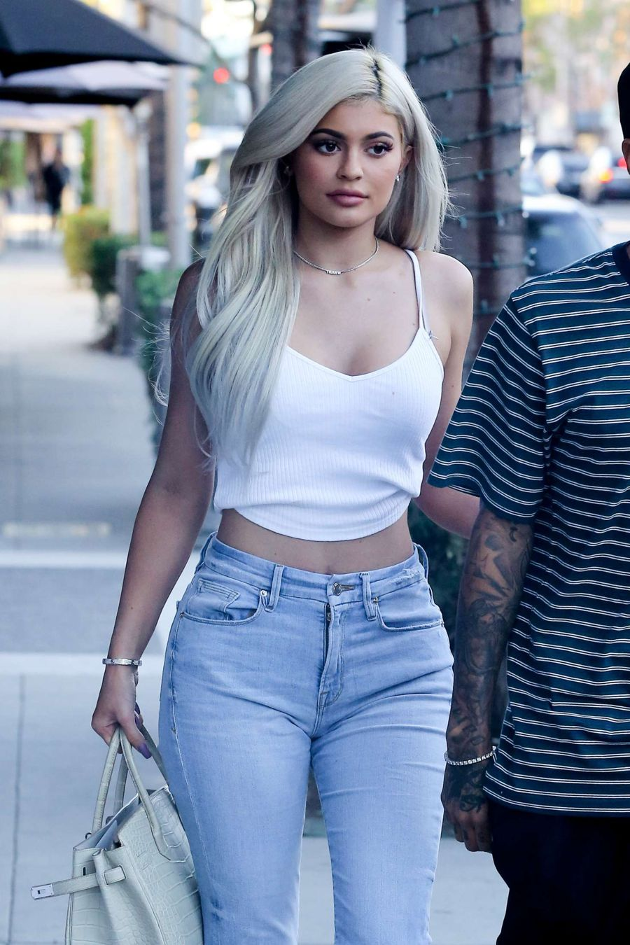Kylie Jenner in White Tank Top in Beverly Hills