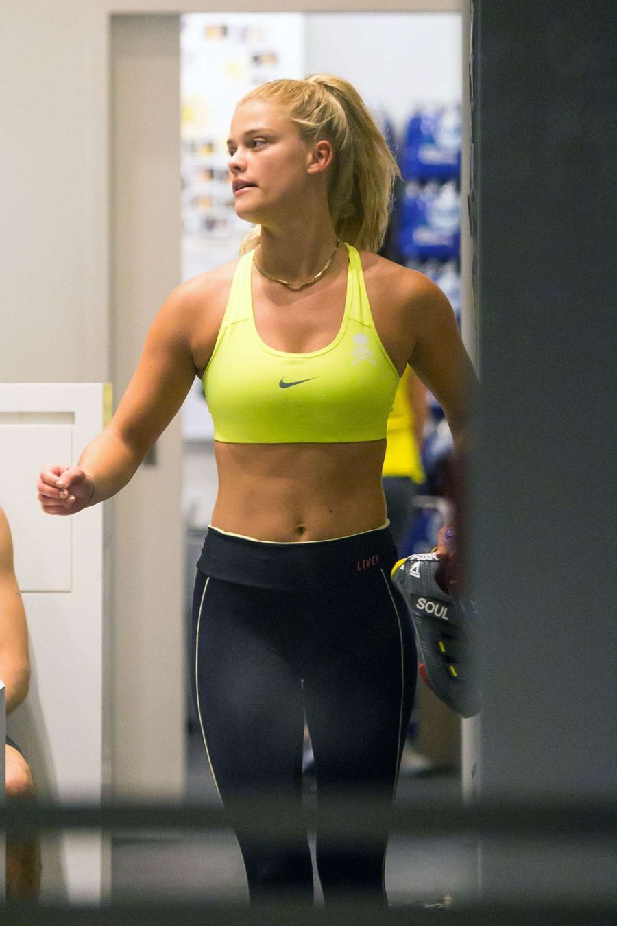 Nina Agdal in Tights at SoulCycle gym in New York
