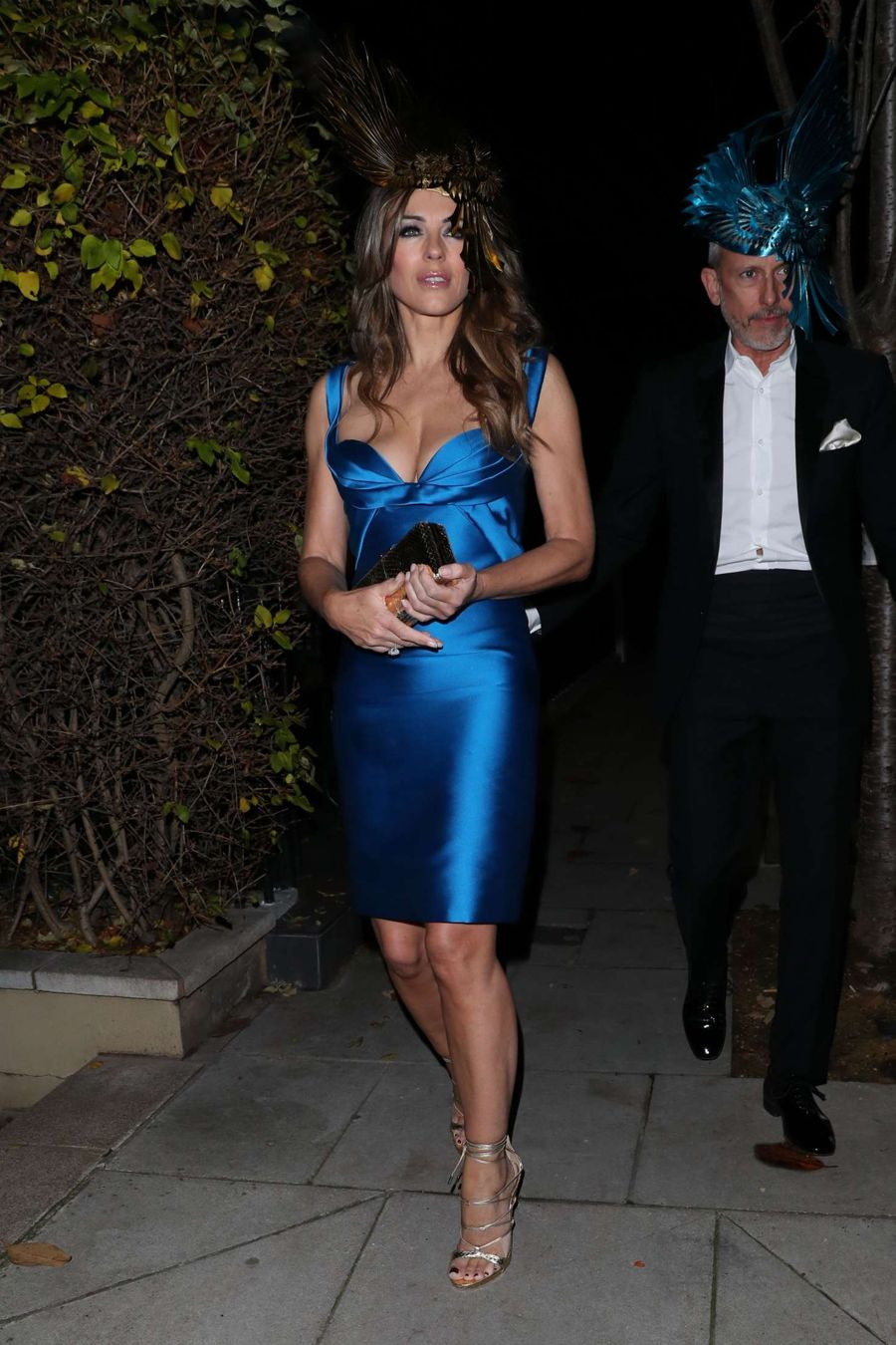 Elizabeth Hurley in Blue Dress out in London
